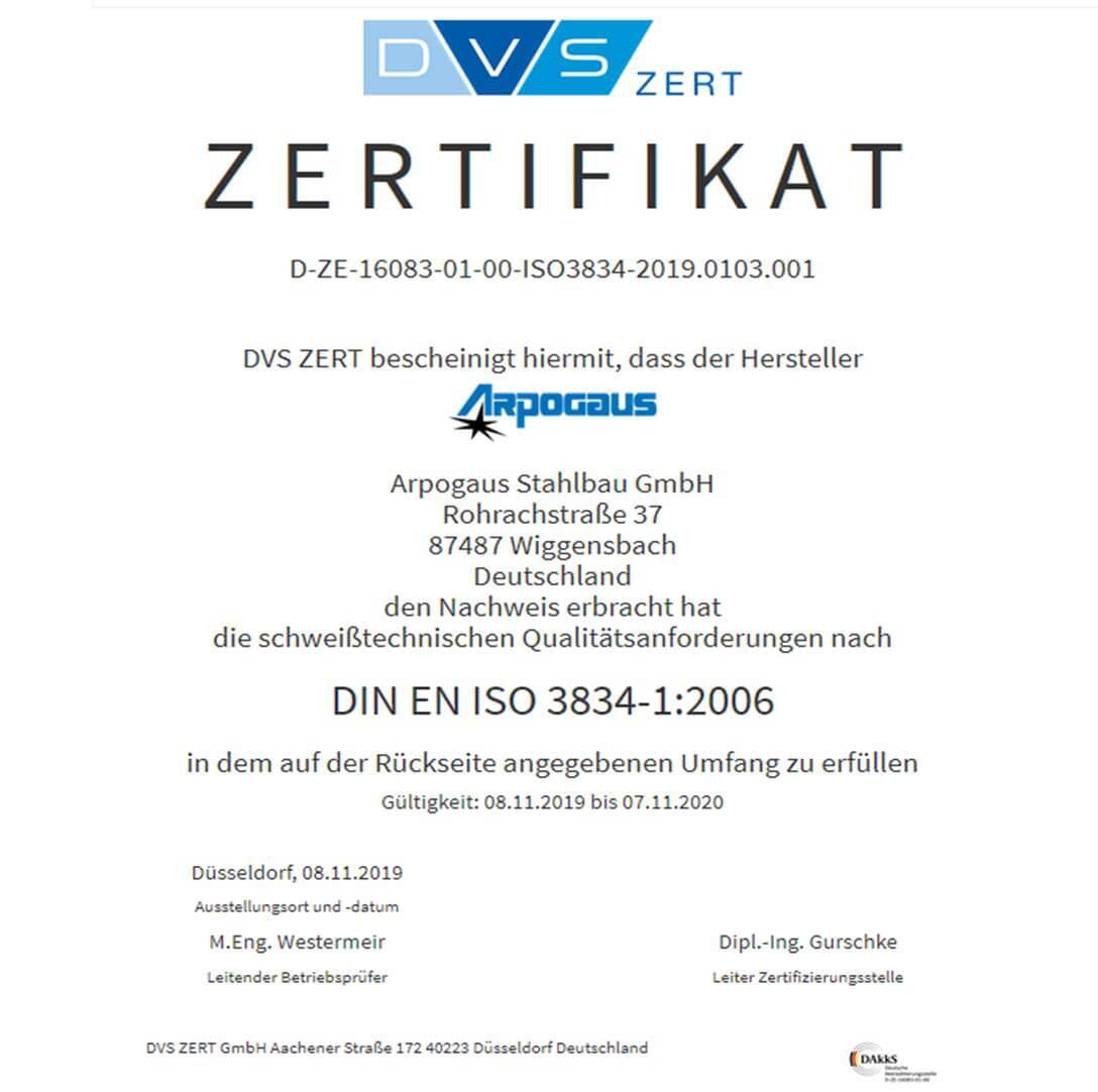 Schweißzertifikat nach DIN EN ISO 3834-1:2006